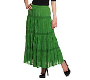 Susan Graver Fully Lined Crinkle Cotton Striped Tiered Skirt - A9529