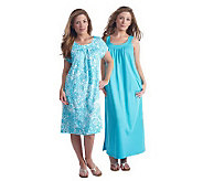 Stan Herman Cotton Jersey Mini and Maxi Loungewear Dress Set - A213531
