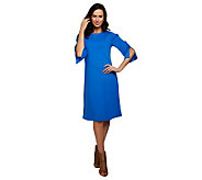 Susan Graver Ponte Knit Swing Dress with Split 3/4 Sleeves - A221331