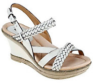 Earth Vista Leather Braided Strap Wedge Sandals - A231631