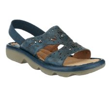 Earth Promenade Leather Beaded Sandals w/ Back Strap