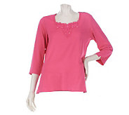 Susan Graver Butterknit 3/4 Sleeve Top with Crochet Trim - A221333