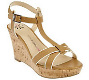 Isaac Mizrahi Live! Sandal with Ankle Strap and Cork Wedge - A223433