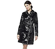 As Is Isaac Mizrahi Live! Crinkle Patent Button Trench Coat - A228433