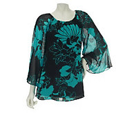 Dennis Basso Floral Print Trumpet Sleeve Top with Smocking Detail - A224434