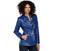 Denim & Co. Leather 3-Button Blazer - A219335