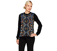 Linea by Louis DellOlio Paisley Print Cardigan with Rib Knit Trim - A228335