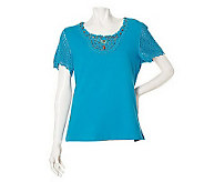 Susan Graver Stretch Knit Crochet Trimmed & Beaded Short Sleeve Top - A6935