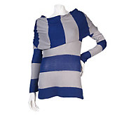 K-DASH by Kardashian Oversized Cowl Neck Striped Sweater - A216636