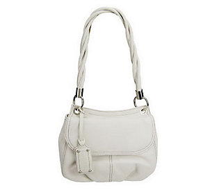Tignanello Glove Leather Flap Bag with Twisted Handle