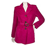 Susan Graver Faux Suede Trench Coat w/Removable Belt - A83836