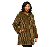 Dennis Basso Reversible Textured Faux Fur Hooded Coat - A219637