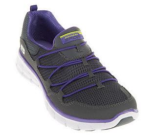 skechers sport bungee closure mesh slip on athletic shoes