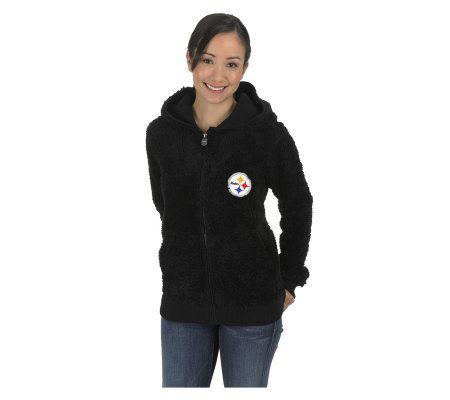 NFL Pittsburgh Steelers Womens Teddy Bear Jacket —