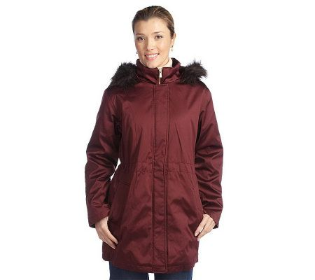 Isaac Mizrahi Live Solid or Print Anorak with Faux Fur Hood   A210539