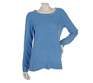 Susan Graver Essentials Plush Knit Jewel Neck Sweater - A212039