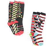 little missmatched CrazyCoordinate Holiday Stripes &StarsKneeHighs - A217939