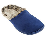 Dearfoams Microfiber Velour Clog with Frosted Faux Fur Lining - A227840