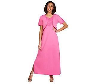 Denim & Co.® Crochet-Trim Maxi Dress & Shrug