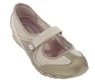 Skechers Leather & Fabric Sparkle Adj. Strap Mary Janes