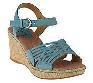 B.O.C. by Born Tootsie Leather Quarter Strap Wedge Sandals - A212841