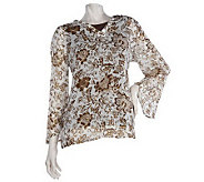 Susan Graver Floral Print Georgette Tunic with Stretch Tank - A70541