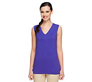 Linea by Louis DellOlio Whisper Knit V-Neck Tank w/ Rib Trim - A233942