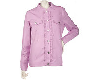 Quacker Factory Stretch Ringspun Sparkle & Shine Jacket w/Ruffle - A212743
