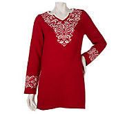 Susan Graver Split Neck Sweater Tunic with Neck & Cuff Detail - A220243