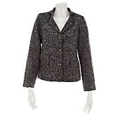 Dennis Basso Tweed Military Button Front Blazer with Stylized Collar - A229743