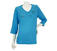 Quacker Factory 3/4 Sleeve T-shirt with SimulatedPearl Heart Design - A225744