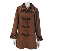 Dennis Basso Faux Suede Toggle Coat with Leopard Faux Fur Trim - A229345