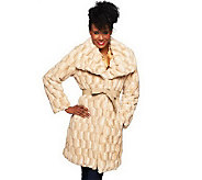 Dennis Basso Sculpted Faux Fur Draped Collar Coat with Belt - A229745