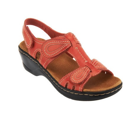 A230245 Clarks Bendables Lexi Walnut Leather Sandals with Adjustability