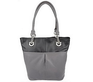 As Is Tignanello Glove Leather Two Tone Bucket Tote