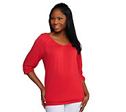 Susan Graver Rayon Spandex Ruched 3/4 Sleeve V-neck Top - A231247