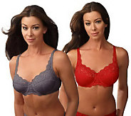 Barely Breezies Set of 2 Microfiber and Lace Support Bras - A72247