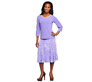 Susan Graver Liquid Knit Piped Solid Top w/Swirl Print Skirt - A9647