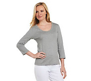Liz Claiborne New York Essentials Rounded V-neck T-shirt - A218548