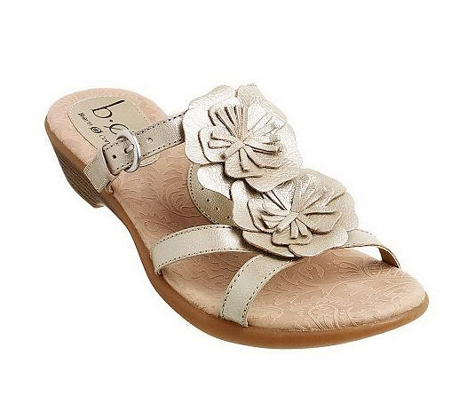 Womens Leather Flower Adjustable Strap Slides Sandals Size 10 11