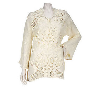 CE by Cristina Ehrlich Hand Crochet Tunic Sweater
