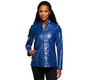 Susan Graver Faux Leather Jacket with Zipper Pockets & Seam Details