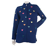 Quacker Factory All Over Hearts Zip Front Knit Jacket - A211251