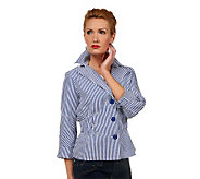 Joan Rivers Seersucker Signature Jacket with 3/4 Sleeve - A222452