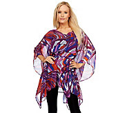 Kris Jenner Kollection Abstract Print Sheer Poncho with Tie Belt - A223752