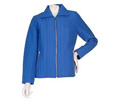 Motto Point Collar Zip Front Quilted Jacket with Pockets
