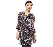 Kris Jenner Kollection 3/4 Sleeve Ikat Print Sheer Tunic - A223753