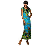 Bob Mackies Balinese Ikat Printed Maxi Dress w/ Side Slit - A232553
