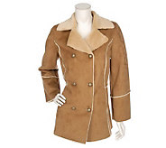 Dennis Basso Faux Suede Double Breasted Coat - A73353