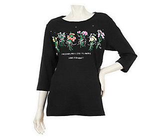 Quacker Factory Whats Old is New Floral Bouquet 3/4 Sleeve T-shirt